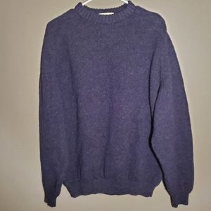 Eddie Bauer Mens Blue Marled Wool Sweater